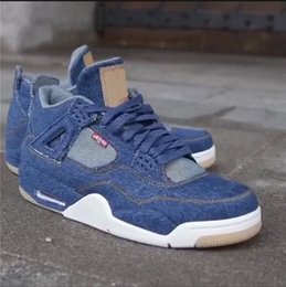 Wholesale Games Designers - Cheap Air retro 4 IV LEVI denim sail game man and women basketball shoes top quality Mens Sport 4S designer shoes running Sneakers