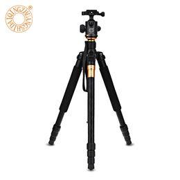 Soporte de cámara plegable online-QZSD Q999 Trípode portátil profesional Monopod + soporte de la cámara de la cabeza de la bola para SLR DSLR cámara digital doblar tripa