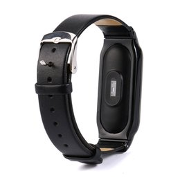 Wholesale Metal Wristbands For Men - for mi band 2 Fashion Business Leather Replacemet WristBand Strap Bracelet Metal Buckle For XIAOMI MI Band 2 women men