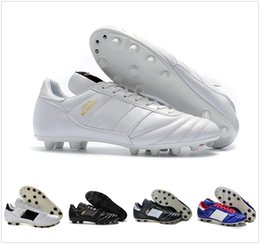 Wholesale Discount Indoor Soccer Shoes - 2018 Mens Copa Mundial Leather FG Soccer Shoes Discount Soccer Cleats World Cup Football Boots Size 39-45 Black White Orange botines futbol