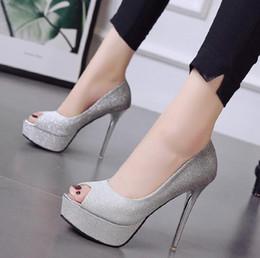 zapatos de la boda de la plataforma de champán Rebajas Gladient color plata champán peep toe plataforma bombas brillo zapatos de boda vestido de baile vestido zapatos tamaño 34 a 39