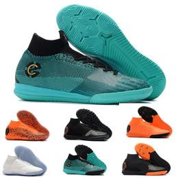 2019 zapatos de fútbol de corte alto Kids Indoor Mercurial Superfly SuperflyX KJ VI 360 Elite Ronaldo CR7 IC TF Hombre Mujer Chicos Zapatos de fútbol Cristiano Botas de fútbol