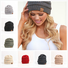 Wholesale Young Cap - Comfortable Warm Headgear Knit Hat Student CC Cap Single Color Point Young Vitality Dome New CC Hat
