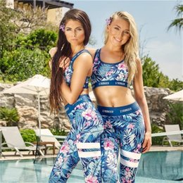 Wholesale Mid Scoop - Floral Printed Sports Suit Fitness Clothing Gym Tracksuit Women Sexy Running Yoga Set Padded Sports Bra Leggings 2 Piece Set Bra + Pants