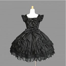 Vestido lolita gótico sin mangas online-Vestido de Lolita gótico de algodón negro hasta la rodilla sin mangas