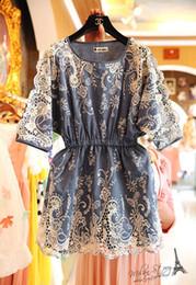 Wholesale Women Summer Jeans Dress - 2017 UK British Vestidos Femininos Summer Women Vintage Embroidery Denim Mini Dress Jeans Blouse Dresses