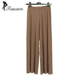 4deb025bfad Women Summer Cotton Causal Wide Leg Pants Office Lady Elastic High Waist  Loose Chiffon Hundred pleats Pleated Trousers Bottom Y1891701