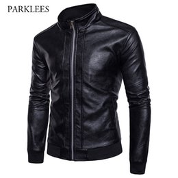 Wholesale Jacket Cuir Men Black - Motorcycle Leather Jacket Men 2017 Fashion Stand Collar Rib-knit Cuff Design PU Leather Jacket Casual Pocket Veste Cuir Homme