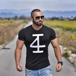 Wholesale Bodybuilding Muscle Shirts - Brand Men 'S T -Shirt Fitness And Bodybuilding Short Sleeve T Shirts Fashion Leisure Muscle Men Slim Fit Personality Tees Tops