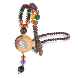 Wholesale buddhist bead necklace pendant - Handmade Vintage Ethnic Nepal Buddhist Mala Wood Beads Necklaces Natural Stone Pendant Necklace For Women Men 1595