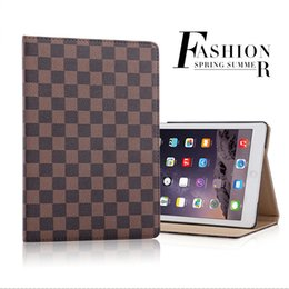 Wholesale Leather Covers For Tablets - For 2017 New ipad A1822 fashion Big-name grid the protection case PU leather tablet cover for iPad 2 3 4 5 6 Pro 9.7 Air2 Mini Mini4