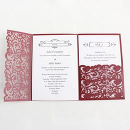 Carton Dinvitation De Mariage Decoupe Au Laser Bourgogne Or Bleu Tri Fold Poche Invitations Daffaires Personnalisees Cartes RSVP Fournitures Fete