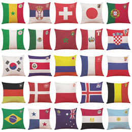 Wholesale Cupping For Massage - flag pillowcase 2018 Russia Football World Cup Top 32 countries National flag pillowcase flax pillow case for Bar Club souvenir good quality