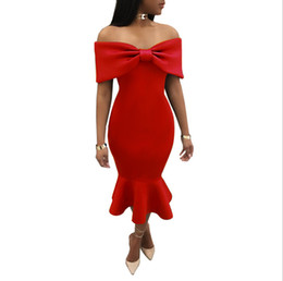 Wholesale Women Midi - Party Dresses Slash Shoulder Irregular Dress Lotus Leaf Dress Women High Waist Formal Party Long Dresses