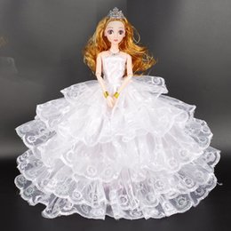 Wholesale 3d Real Dolls - 3D real eye doll luxury high-end wedding dress trailing suit Bridal Gift Box children toy Princess
