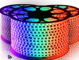 Wholesale ir wire - FREE Cut 10M-100M 110V 220V High Voltage SMD 5050 RGB Led Strips Lights Waterproof +IR Remote Control+Power Supply