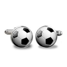 bolas de golfe futebol Desconto Novos Abotoaduras de futebol Bola de golfe Abotoaduras Na moda fãs de esporte Algemas redondas de vidro Redonda Camisa de jóias masculinas Abotoaduras Acessório