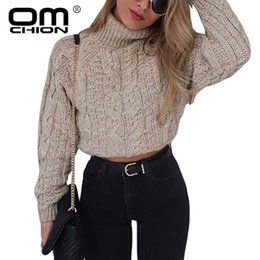 6f2856382b OMCHION Pull Femme 2018 Autumn Winter Turtleneck Crop Sweater Women Casual  Solid Twist Short Pullover Sexy Thick Jumper LMM112