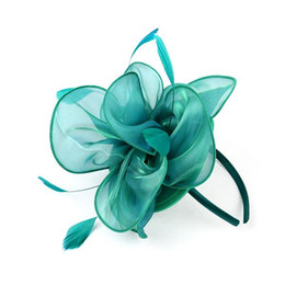 Wholesale feather corsages - Derby Flower Feather Bead Corsage Hair Clips Fascinator Hairband Pin