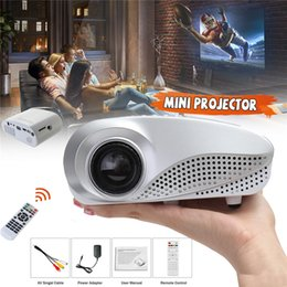 projetor vga Desconto 50 Lumens Projetor Portátil LCD LED Mini Projetor Para Home Theater 1080 P Suporte a Vídeo AV / USB / HDMI / VGA Porta Pico Projetor com caixa