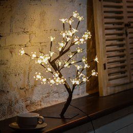 Albero bianco fiore di fiori online-Warm White LED Lights Desk Top Cherry Blossom Tree, rami neri, perfetti per la decorazione domestica di interni, 0.45M / 17.72 pollici 48LEDs