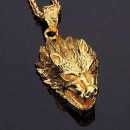 Wholesale Wolf Amulet - 2018 Men' Jewelry Gold Wolf Head Pendant Necklace Amulets Animal Charm Ornaments Supernatural Amulet Knot Hip Hop Fashion Cool