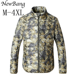 Wholesale White Lager - 2017 Fashion Ultralight Down Jackets Men's Camo Feather Jacket Puffer Lager Size Outdoors Stand Collar Coats Plus