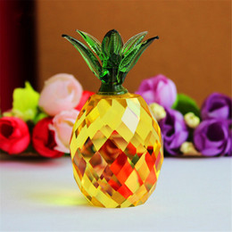 Wholesale ornament house - Crystal Yellow Block Pineapple Figurine Ornaments Christmas Sale Feng shui Festive Party House Desk Deocration Craft Gift
