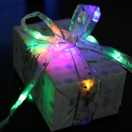 Wholesale Led Christmas Ribbon - 40 Leds 4m Colorful LED Silk Ribbon String Christmas Tree Party Decoration Fairy Copper Lights For Wedding Package Ribbon 7A0454
