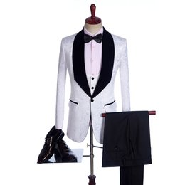 Wholesale Tuxedo Suits Colors - New Jacquard Groomsmen Big velet Shawl Lapel Groom Tuxedos Custom Made 4 colors Men Suits Wedding Best Man Blazer (Jacket+Pant+Bow Tie+Vest)