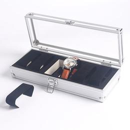 Сетка подарочной коробки онлайн-2017 Полезные 6 Сетки Смотреть Box Ювелирные Изделия Алюминиевого Сплава Часы Дисплей Кейс Для Хранения Украшения Подарок