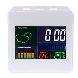 Argentina LED Alarma Termómetro humedad Calendario Estación meteorológica Pronóstico Temperatura Tendencia Reloj de escritorio digital con cable USB blanco Suministro
