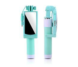 filtro recubierto Rebajas Mini Portable Selfie Stick Espejo de acero inoxidable Control de alambre plegable Selfie Monopods Apple teléfono Android Universal Selfie Stick