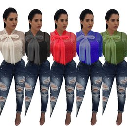 Wholesale Lantern Beads - 2018 Summer Chiffon Blouses Dress Gauze Perspective Beaded Top sexy Net Yarn Women shirts Casual Long Sleeve Shirts Clothes