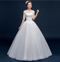 db20047ef92 Round collar long-sleeved three-dimensional flower wedding color drilling  waist thin large size wedding dress Qi Di Korean version