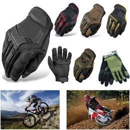 Wholesale leather gauntlet gloves - New 2018 Full Finger M-PACT Tactical Gloves Military Bike Race Sport Paintball Army Camo Outdoor Men Wear