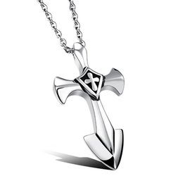 polished stainless necklace cross Promo Codes - Stainless Steel Crusades Cross Pendant Men Necklace Punk Rock Style With 50cm Link Chain Polishing Jewelry Gift