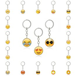 Wholesale Lovely Gifts For Lover Girl - Fashion Lovely Emoji Smiley Face Time Precious Stones Pendant Metal Glass Funny Keychain Jewelry For Women Men Gift G40L