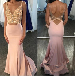 Wholesale custom measurements - Long Mermaid Formal Evening Dresses 2018 V-Neck Backless Sweep Train Beaded Custom Measurement African Made Party Wear Prom Pageant Gown
