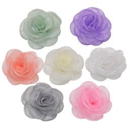 rose hairband Promotion 5 pièces 9 cm Soie Fleur Roses Fleurs Artificielles Tête pour DIY Robe Hairband Artisanat À Coudre Accessoires