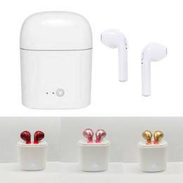 Wholesale Cheap Apple Earphones - Cheap i7S TWS Twins Bluetooth V4.2 Headphones Mini Wireless Stereo Earphones Earbuds With Charging Case for Iphone 7 8