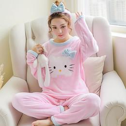 f7fa4c7294 2019 pijama de oso de dibujos animados Invierno Mujer Pijama Poliéster  Pantalones Llenos Dama Dos piezas