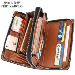 Wholesale Designer Mens Luxury Wallet - Luxury Wallets Double Zipper Leather Male Purse Business Men Long Wallet Designer Brand Mens Clutch Handy Bag carteira Masculina