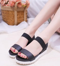 Wholesale Fish Manufacturers - Manufacturers wholesale 2018 summer new Korean version of the fish mouth muffin sandals women thick bottom elastic buckle women's sandals, s