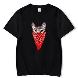 Argentina Camiseta de verano de los hombres Máscara roja creativa Gato impresión Camisa de los hombres Camiseta de manga corta Camiseta informal de dibujos animados Moda Camiseta corta 2018 Suministro
