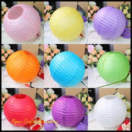 Wholesale Wholesale Brown Rice - 8inch 20cm Chinese Wedding Round Paper Lantern Lampion Rice Lamp Hanging Birthday Party Decorations