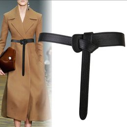 leather dress accessories Australia - Luxury Female Belt for Women red Bow design Thin PU Leather Jeans Girdles Loop strap belts bownot brown dress coat accessories