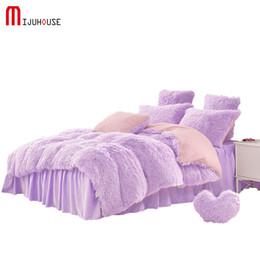 Wholesale Purple Rose Quilt Cover Set - Solid Velvet Mink Bedding Set Warm Thicken Winter Home Duvet Cover Bed Linen Quilt Queen Size 6 Piece Bedding Sets Free Shipping