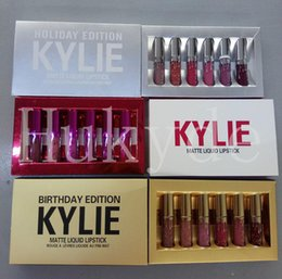 Wholesale Lipstick Pcs - Kylie Jenner Valentine & Holiday & Birthday Edition Lip Kit Matte Liquid Lipsticks 6 pcs Set Mini Kylie Lipgloss Kit Free Shipping