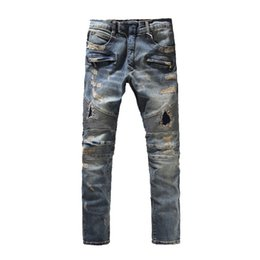 Wholesale plus sized ripped jeans - Balmain Wholesale-represent clothing designer pants destroyed mens slim denim straight biker skinny jeans men ripped jeans